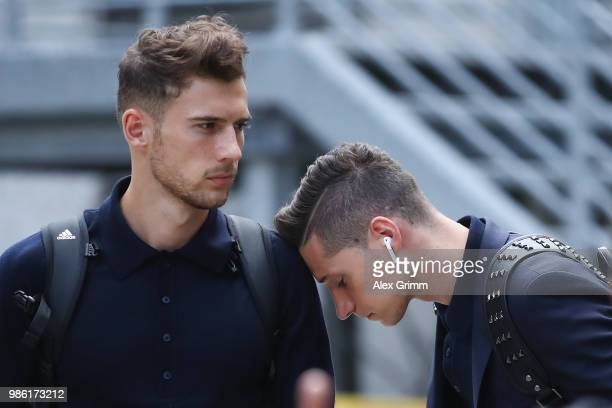 Leon Goretzka and Julian Draxler react during the return of the German national football team from the FIFA World Cup Russia 2018 at Frankfurt...