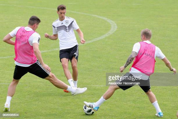 Leon Goretzka battles for the ball during a training session of the German national team at Sportanlage Rungg on day sixteen of the Southern Tyrol...
