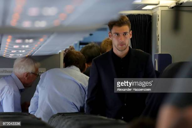 Leon Goretzka boards the German team charter LH2018 prior to the depature of the team to the 2018 FIFA World Cup Russia at Frankfurt International...