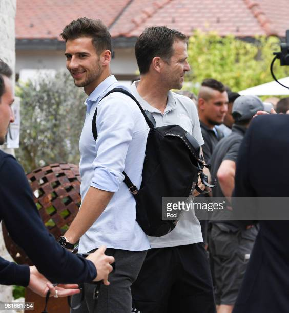 Leon Goretzka is greeted by team manager Oliver Bierhoff as he arrives on day one of the Germany National Football team's training camp at Hotel...