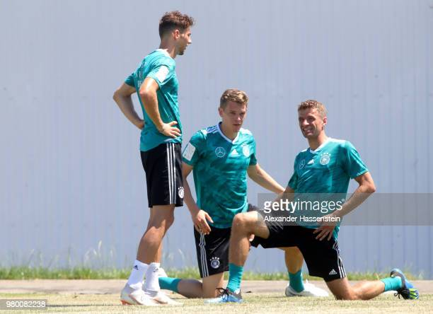 Leon Goretzka Matthias Ginter and Thomas Mueller of Germany train to the Germany Training session at Park Arena training ground on June 21 2018 in...