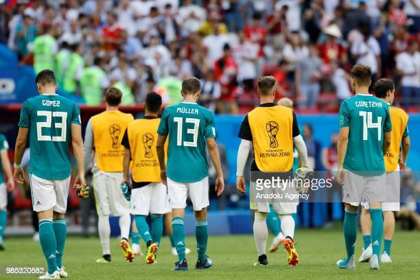 Leon Goretzka Muller and Gomez of Germany react after losing the 2018 FIFA World Cup Russia Group F match against Korea Republic at the Kazan Arena...
