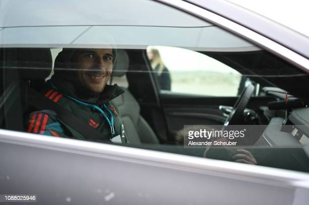 Leon Goretzka of Bayern München sits in a car during a promotional event at Airport Munich on January 24 2019 in Munich Germany FC Bayern meets Audi...