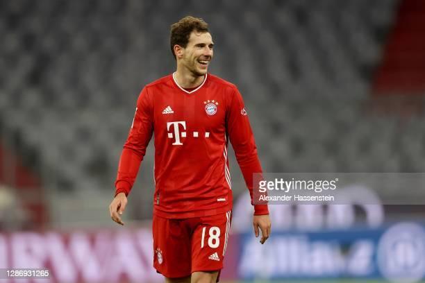 Leon Goretzka of Bayern München smiles during the Bundesliga match between FC Bayern Muenchen and SV Werder Bremen at Allianz Arena on November 21,...