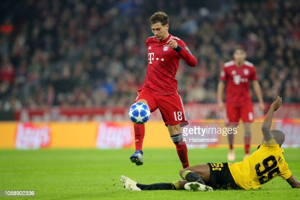 Leon Goretzka of Bayern Muenchen battles for the ball with Alef of Athens during the Group E match of the UEFA Champions League between FC Bayern...