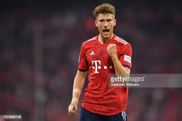 Leon Goretzka of Bayern Muenchen celebrates after scoring a goal that was shortly there after revoked by the video assist during the Bundesliga match...