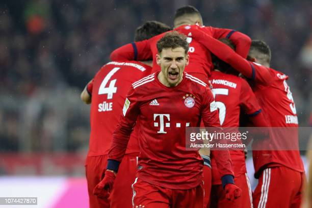 Leon Goretzka of Bayern Muenchen celebrates during the Bundesliga match between FC Bayern Muenchen and RB Leipzig at Allianz Arena on December 19...
