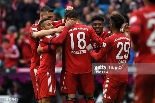 Leon Goretzka of Bayern Muenchen celebrates scoring his side's second goal during the Bundesliga match between FC Bayern Muenchen and Hannover 96 at...
