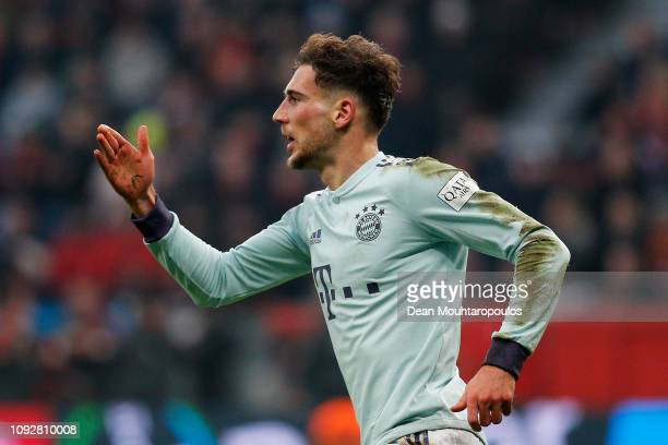 Leon Goretzka of Bayern Muenchen celebrates scoring his teams first goal of the game during the Bundesliga match between Bayer 04 Leverkusen and FC...