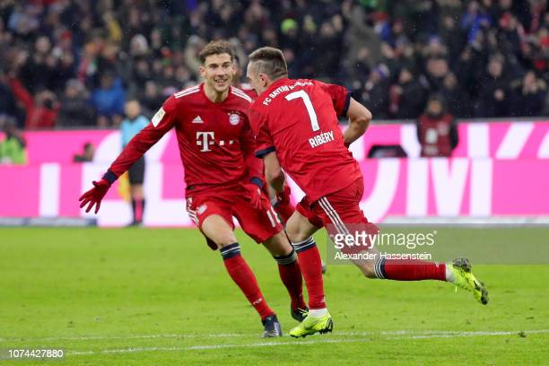 Leon Goretzka of Bayern Muenchen celebrates with Franck Ribery after scoring the first goal during the Bundesliga match between FC Bayern Muenchen...