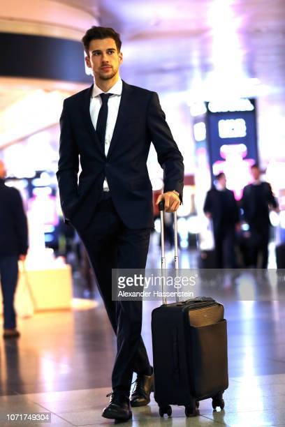 Leon Goretzka of Bayern Muenchen is seen prior to the departure of the team to the UEFA Champions League match against AFC Ajax at Airport Munich on...
