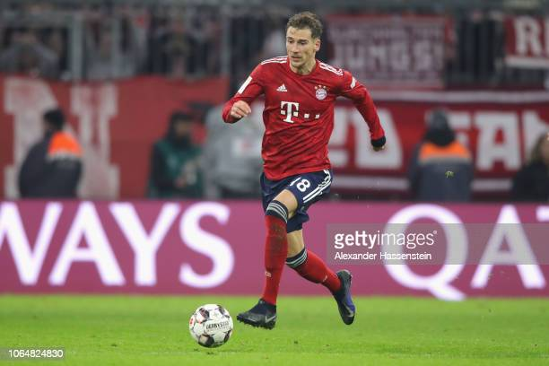 Leon Goretzka of Bayern Muenchen runs with the ball during the Bundesliga match between FC Bayern Muenchen and Fortuna Duesseldorf at Allianz Arena...
