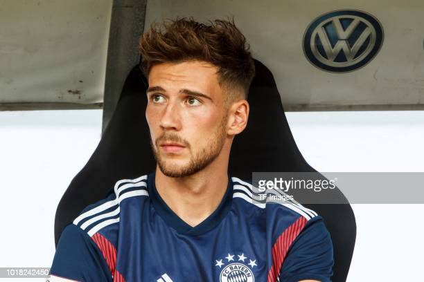 Leon Goretzka of Bayern Muenchen sits on the bench prior to the DFL Supercup match between Eintracht Frankfurt and Bayern Muenchen at...