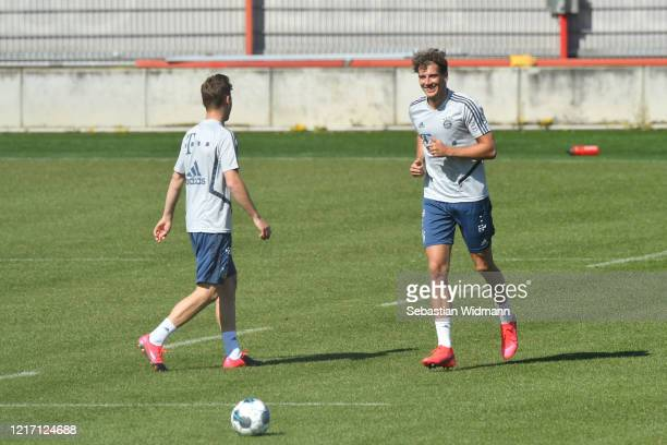 Leon Goretzka of Bayern Muenchen smiles during a training session at Saebener Strasse training ground on April 06 2020 in Munich Germany