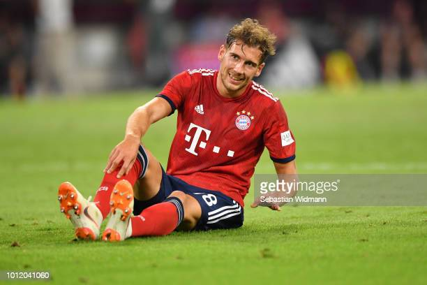 Leon Goretzka of Bayern Muenchen smiles during the friendly match between Bayern Muenchen and Manchester United at Allianz Arena on August 5 2018 in...