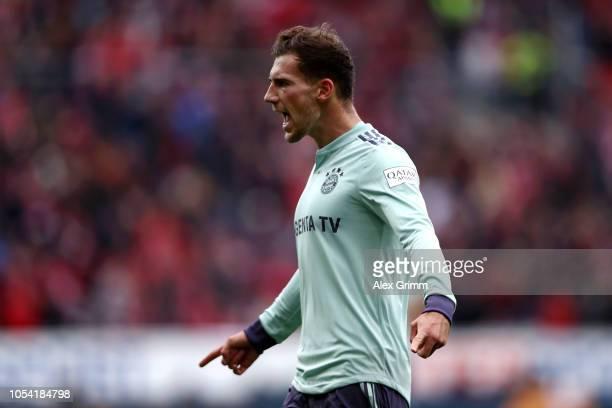 Leon Goretzka of Bayern Munich celebrates after scoring his team's first goal during the Bundesliga match between 1 FSV Mainz 05 and FC Bayern...