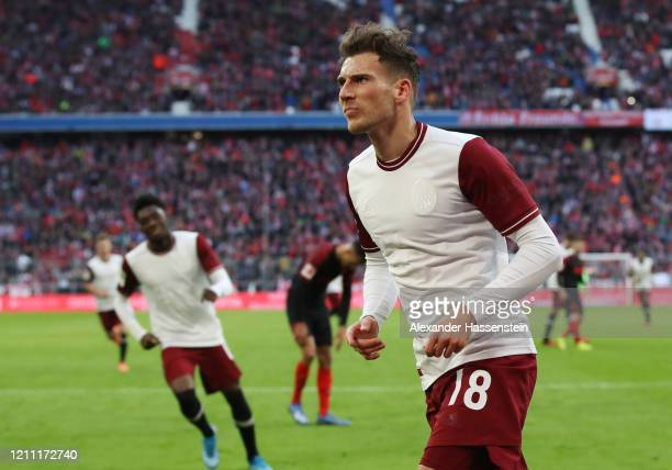 Leon Goretzka of Bayern Munich celebrates after scoring his team's second goal during the Bundesliga match between FC Bayern Muenchen and FC Augsburg...