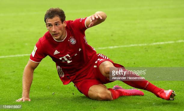 Leon Goretzka of Bayern Munich celebrates after scoring his team's second goal during the Bundesliga match between FC Bayern Muenchen and Borussia...