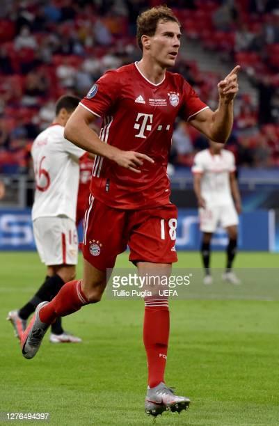 Leon Goretzka of Bayern Munich celebrates after scoring his team's first goal during the UEFA Super Cup match between FC Bayern Munich and FC Sevilla...