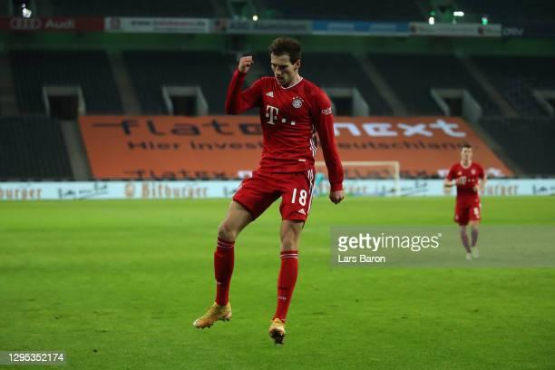 Leon Goretzka of Bayern Munich celebrates after scoring their sides second goal during the Bundesliga match between Borussia Moenchengladbach and FC...