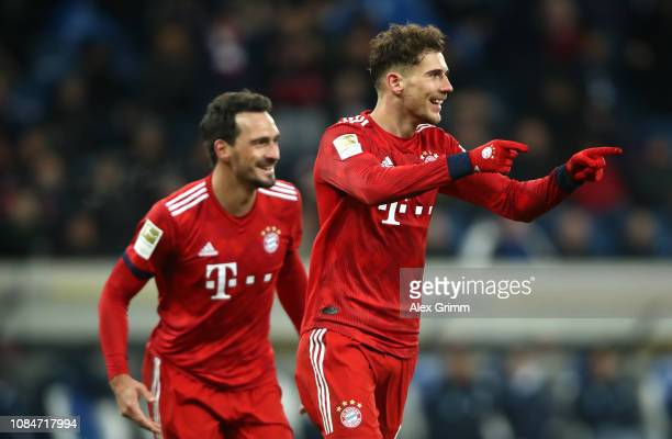 Leon Goretzka of Bayern Munich celebrates scoring the 2nd goal during with team mates the Bundesliga match between TSG 1899 Hoffenheim and FC Bayern...