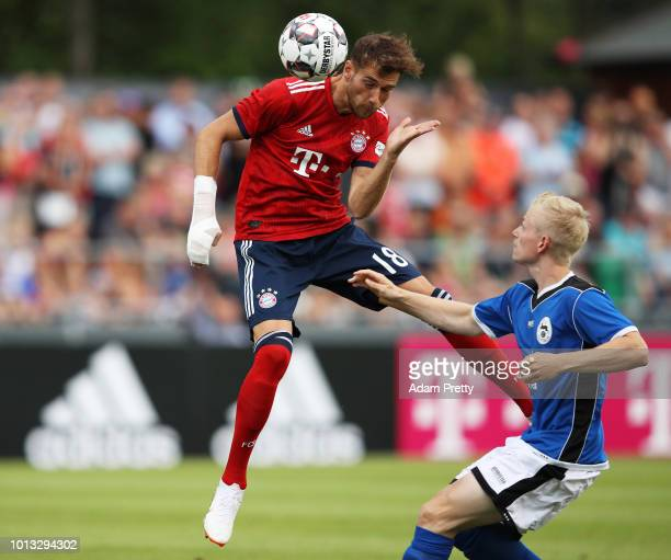 Leon Goretzka of Bayern Munich heads the ball during the PreSeason Friendly match between SV RottachEgern and FC Bayern Muenchen on August 8 2018 in...