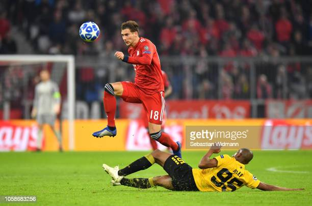 Leon Goretzka of Bayern Munich is challenged by Alef of AEK Athens during the UEFA Champions League Group E match of the between FC Bayern Muenchen...