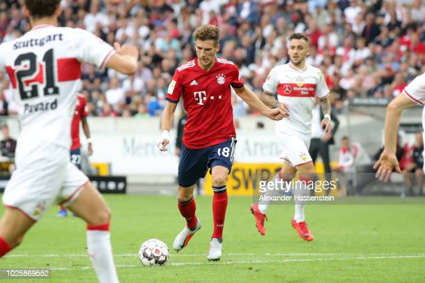 Leon Goretzka of Bayern Munich scores his team's first goal during the Bundesliga match between VfB Stuttgart and FC Bayern Muenchen at MercedesBenz...