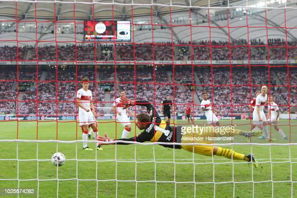 Leon Goretzka of Bayern Munich scores his team's first goal past RonRobert Zieler of VfB Stuttgart during the Bundesliga match between VfB Stuttgart...