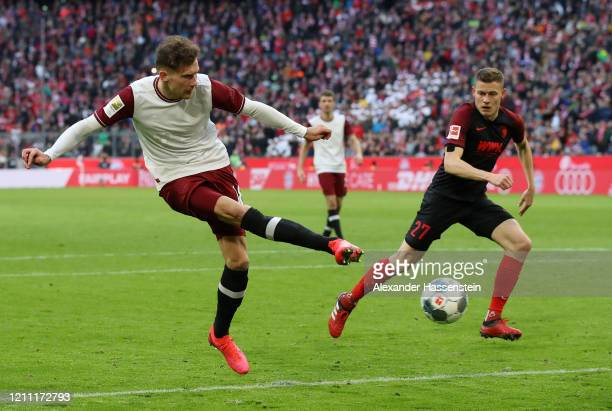 Leon Goretzka of Bayern Munich scores his team's second goal during the Bundesliga match between FC Bayern Muenchen and FC Augsburg at Allianz Arena...