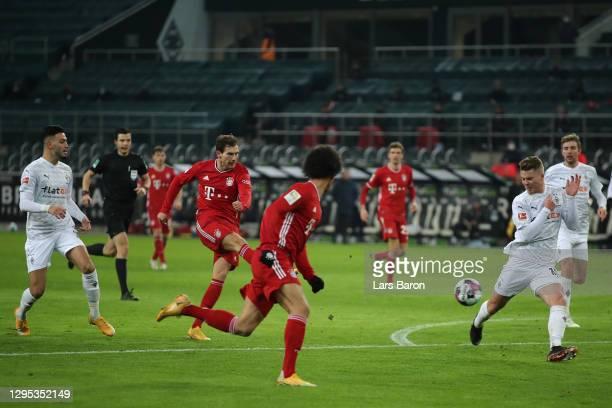 Leon Goretzka of Bayern Munich scores their sides second goal during the Bundesliga match between Borussia Moenchengladbach and FC Bayern Muenchen at...