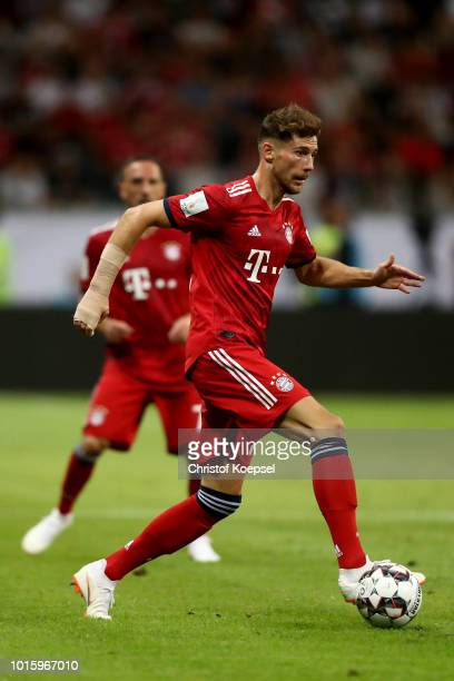 Leon Goretzka of Bayern runs with the ball during the DFL Supercup match between Eintracht Frankfurt an Bayern Muenchen at CommerzbankArena on August...