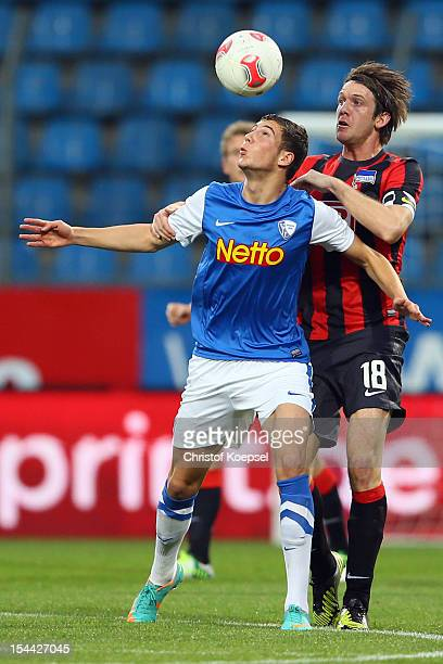 Leon Goretzka of Bochum and Peter Niemeyer of Berlin go up for a header during the Second Bundesliga match betweeen VfL Bochum and Hertha BSC Berlin...