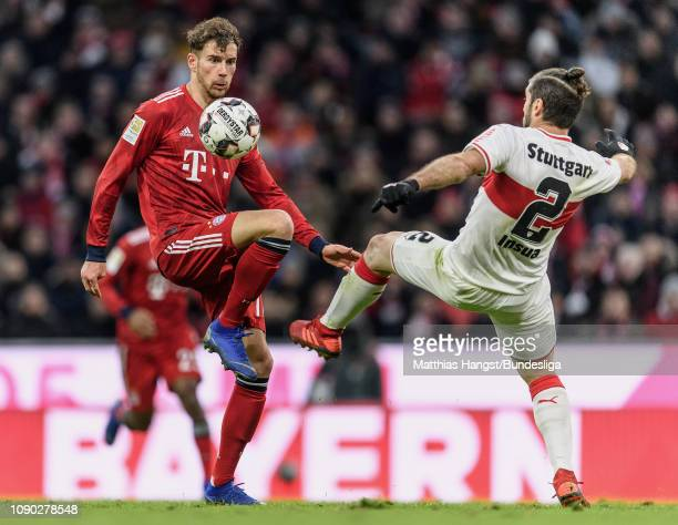 Leon Goretzka of FC Bayern München in action against Emiliano Insua Zapata of Stuttgart during the Bundesliga match between FC Bayern München and VfB...