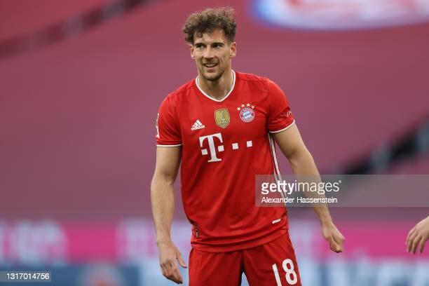 Leon Goretzka of FC Bayern München looks on during the Bundesliga match between FC Bayern Muenchen and Borussia Moenchengladbach at Allianz Arena on...