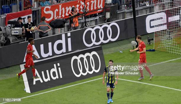 Leon Goretzka of FC Bayern Muenchen celebrates after scoring his team's second goal with team mate Kingsley Coman during the Audi cup 2019 semi final...