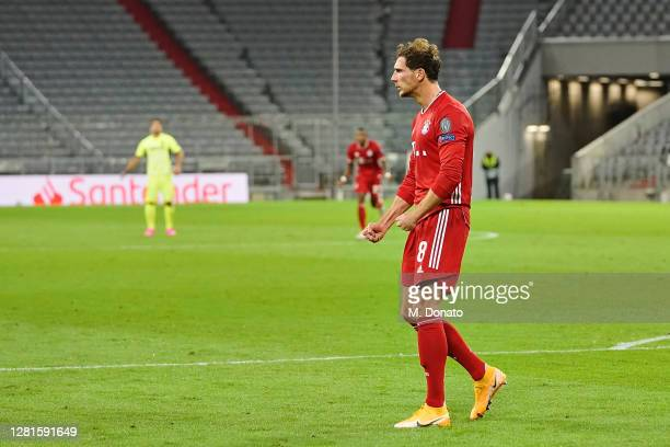 Leon Goretzka of FC Bayern Muenchen celebrates after scoring his team's second goal during the UEFA Champions League Group A stage match between FC...