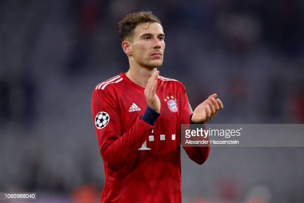 Leon Goretzka of FC Bayern Muenchen celebrates after the Group E match of the UEFA Champions League between FC Bayern Muenchen and SL Benfica at...