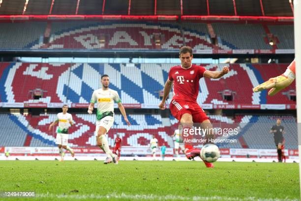 Leon Goretzka of FC Bayern Muenchen celebrates scores the 2nd team goal during the Bundesliga match between FC Bayern Muenchen and Borussia...