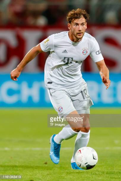 Leon Goretzka of FC Bayern Muenchen controls the ball during the DFB Cup first round match between Energie Cottbus and FC Bayern Muenchen at Stadion...