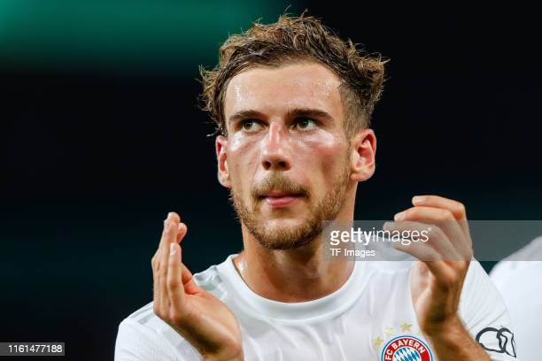 Leon Goretzka of FC Bayern Muenchen gestures after the DFB Cup first round match between Energie Cottbus and FC Bayern Muenchen at Stadion der...