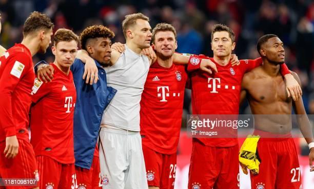 Leon Goretzka of FC Bayern Muenchen Joshua Kimmich of FC Bayern Muenchen Kingsley Coman of FC Bayern Muenchen goalkeeper Manuel Neuer of FC Bayern...