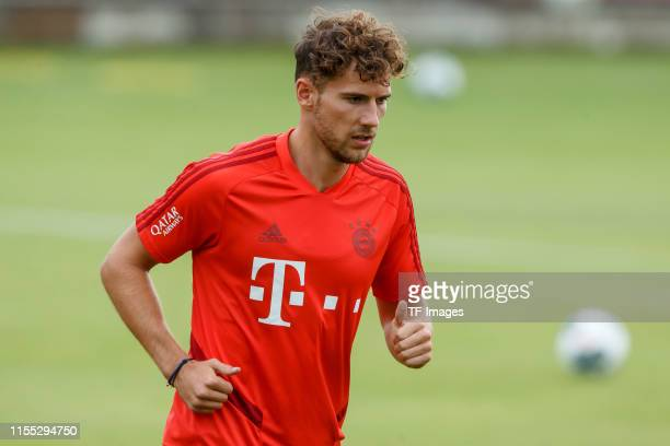 Leon Goretzka of FC Bayern Muenchen looks on during a training session on July 12, 2019 in Munich, Germany.
