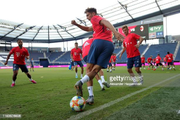 Leon Goretzka of FC Bayern Muenchen plays the ball during a training session at Children`s Mercy Park during the eight day of the FC Bayern Muenchen...