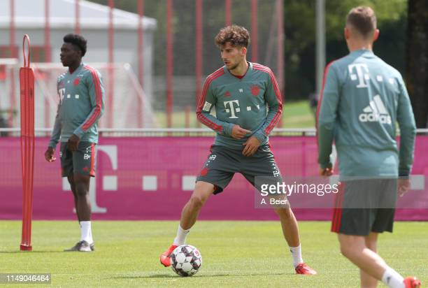 Leon Goretzka of FC Bayern Muenchen practices during a training session at the club's Saebener Strasse training ground on May 14 2019 in Munich...