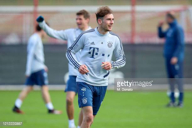 Leon Goretzka of FC Bayern Muenchen runs during a training session at Saebener Strasse training ground on March 13 2020 in Munich Germany