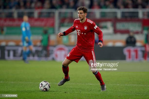 Leon Goretzka of FC Bayern Muenchen runs with the ball during the Bundesliga match between FC Augsburg and FC Bayern Muenchen at WWKArena on February...