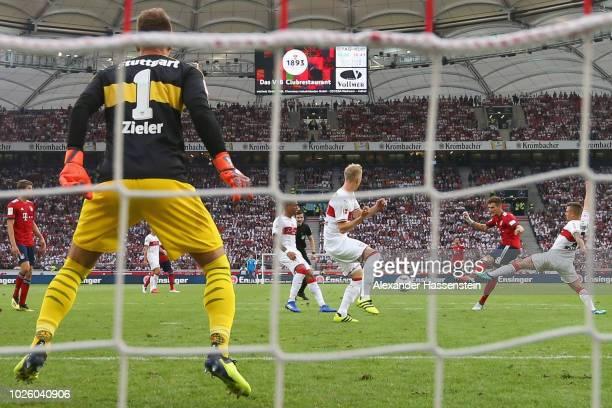 Leon Goretzka of FC Bayern Muenchen scores the opening goal during the Bundesliga match between VfB Stuttgart and FC Bayern Muenchen at MercedesBenz...