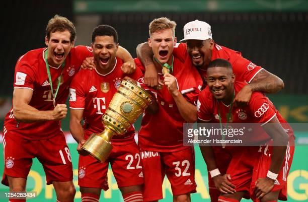 Leon Goretzka of FC Bayern Muenchen Serge Gnabry of FC Bayern Muenchen Joshua Kimmich of FC Bayern Muenchen Jerome Boateng of FC Bayern Muenchen and...