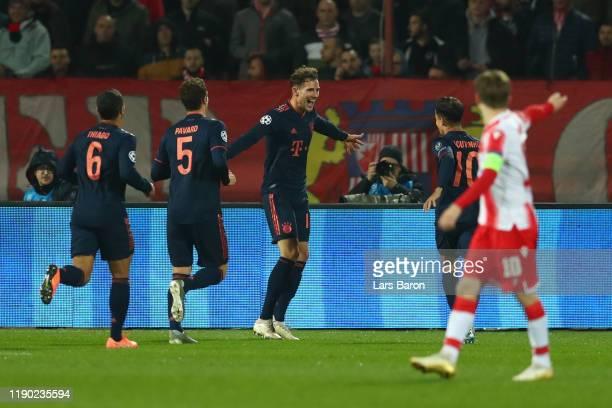 Leon Goretzka of FC Bayern Munich celebrates after scoring his team's first goal during the UEFA Champions League group B match between Crvena Zvezda...